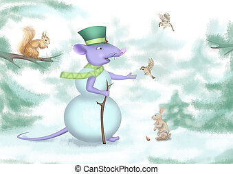 digital drawing of a snowman mouse in the forest with animals