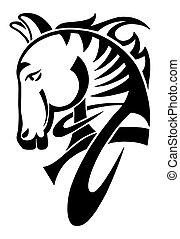 digital drawing of black tribal head horse silhouette isolated on white