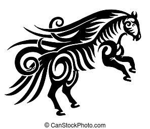 digital drawing of black tribal horse silhouette isolated on white