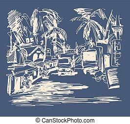 digital drawing of India Goa Calangute Baga landscape street