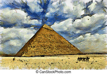 Great Pyramid of Egypt - Digital drawing of The Great...