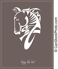 digital drawing of tribal head horse silhouette, symbol of 2014 year
