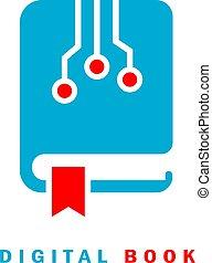 Digital e-book icon, e-learning concept