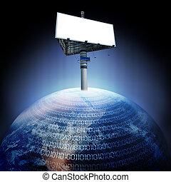 digital earth and billboard - abstract digital earth and...