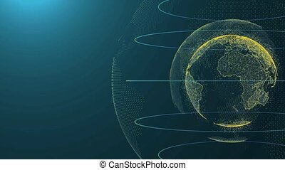 Digital Earth, Connection Network Rotation of planet world map background full hd and 4K.