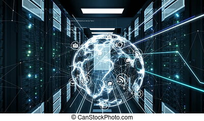 Digital Earth Hologram and Network Icons Connections Moving in Futuristic Datacenter Room Server Racks. Loop-able 3d Animation. Global Digital Technology and Business Concept. 4k UHD 3840x2160.