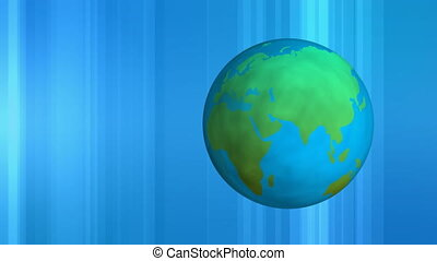 Digital earth rotating with blue background in movement