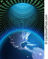 Digital Earth - The Earth globe in a binary data tunnel....