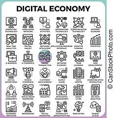 digital, economia, ícones conceito