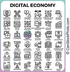 Digital economy concept icons - Digital economy business...