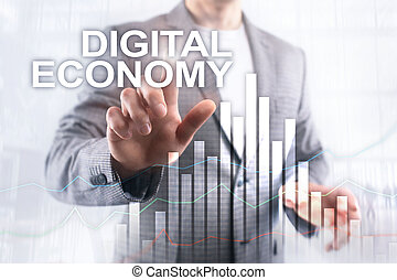 DIgital economy, financial technology concept on blurred background