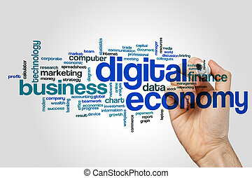 Digital economy word cloud concept on grey background