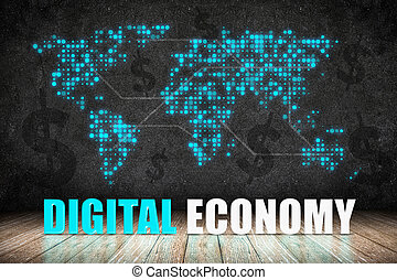 Digital Economy word on wood floor with dollar sign and dot world map on blackboard wall,Digital business concept