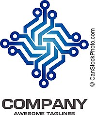 Digital electronics logo design. Creative electronic...