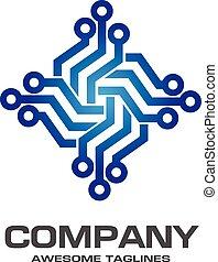 Digital electronics logo design. Creative electronic circuits logo vector, IT technology logo concept