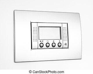 Digital empty Thermostat on white background