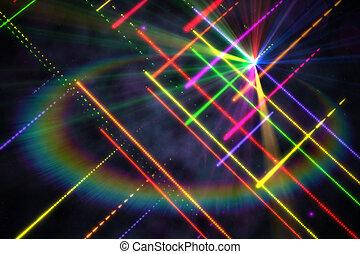 digital erzeugt, laser, hintergrund, disko