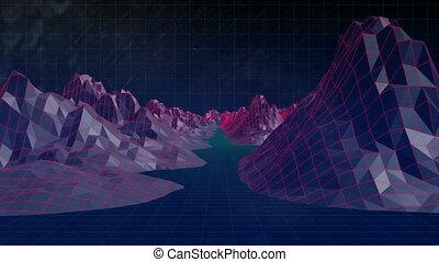 digital erzeugt, video, von, berg