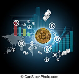 digital, esquema, con, bitcoins, crypto, y, gráficos
