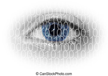 Blue eye with binary numbers isolated on white background