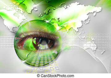 Digital eye - Digital illustration of an eye scan as concept...