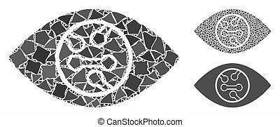 Digital eye lens Composition Icon of Rough Pieces