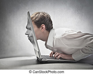 digital face - businessmen with the face that blends into...