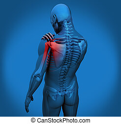 Digital figure with shoulder pain in blue
