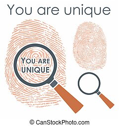 Digital finger with magnifying glass and message