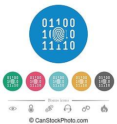 Digital fingerprint flat round icons - Digital fingerprint...
