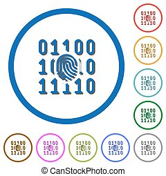 Digital fingerprint icons with shadows and outlines -...