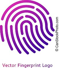 Digital fingerprint on a white background with a trend gradient logo icon security and data storage information protection symbol vector illustration cyber safety safeness concept