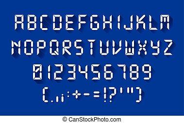 Digital font in a flat design