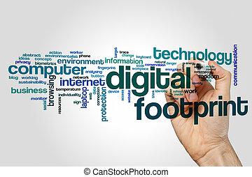 Digital footprint word cloud concept on grey background