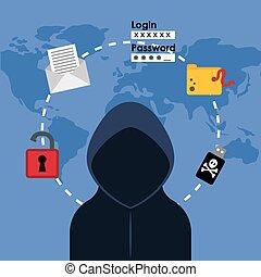 digital, fraude, e, cortar, desenho