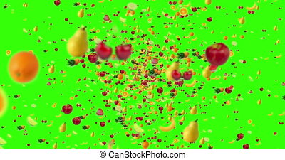 digital fruits flying in vortex on green screen chroma key background with fade out, loop seamless. 4K and 1080 resolution. diet and nutrition concept