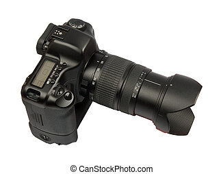 digital full frame camera with 28-75 lens isolated on white background