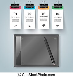 Digital gadget, graphic tablet icon. Business infographic.
