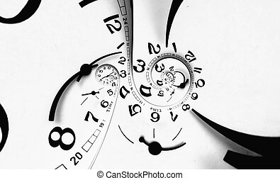 Digital generated twisted clock face. - Two poles Twisted...