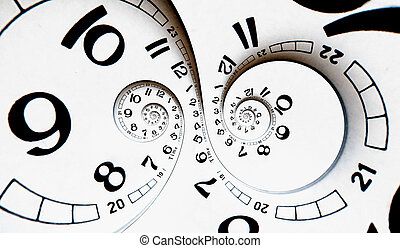 Two poles Twisted clock face. Time concept