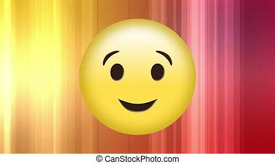Digital generated video of winking emoji