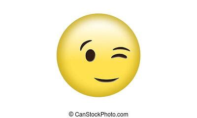 Digital generated video of winking emoji concept
