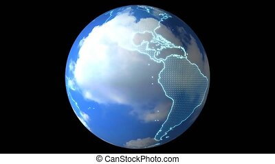 digital global world map and technology research develpoment analysis weather and clouds
