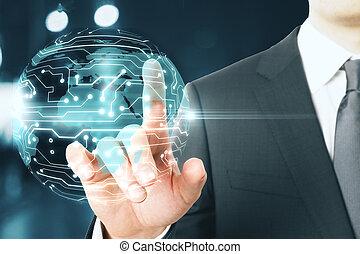 digital globe and businessman