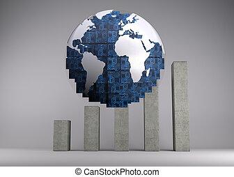 Digital globe in front of statistic