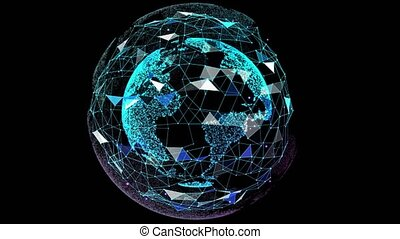 Digital Globe Network. Triangle with dots connecting and circling the globe. Networking and future. 4K Digital