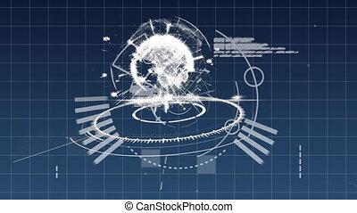 Digital globe on a grid