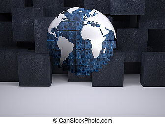 Digital globe on black abstract background