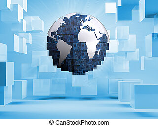 Digital globe on blue background with cubes