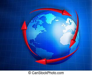 Digital  globe with arrows